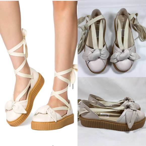 online store 260d4 5f4f2 PUMA FENTY RIHANNA Bow Creeper Lace Up Sandal Flat NWT
